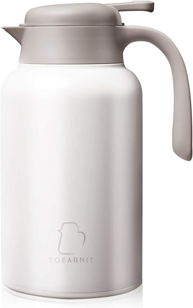 TOEARNIT Coffee Carafe Stainless Steel - Heavy Duty, 24hr Lab Tested Heat Retention, 2 Liter 68oz Insulated Coffee Water & Beverage Dispenser,White