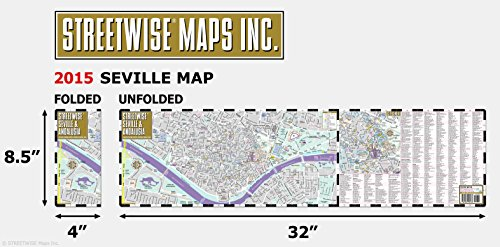 streetwise seville map laminated city center street map of seville spain