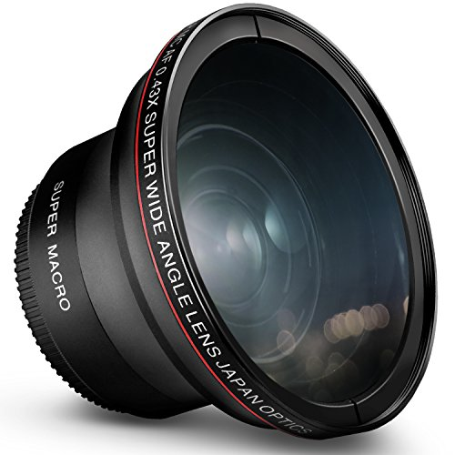 58MM 0.43x Altura Photo Professional HD Wide Angle Lens (w/ Macro Portion) for Canon EOS Rebel 77D T7i T6s T6i T6 T5i T5 T4i T3i T3 SL1 1100D 700D 650D 600D 550D 300D 100D 60D 7D 70D