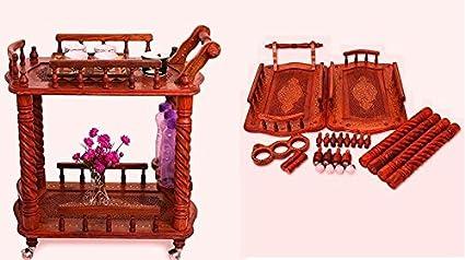 Shilpi Wooden Kitchen Tools Storage Service Trolly Size(LxBxH-30x18x32) Inch