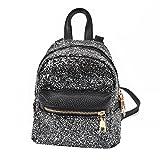 GBSELL Women Girl Leather Sequins Backpacks Schoolbags Travel Shoulder Bag (Black)
