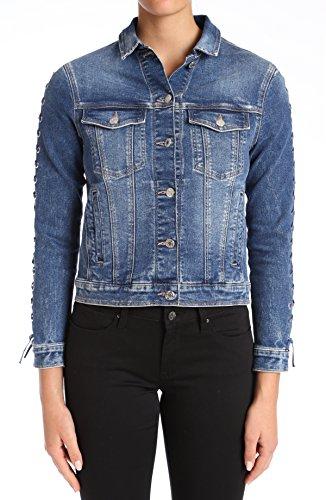 Womens Jacket Eyelet (Mavi Women's Katy Denim Jacket, Dark Indigo Eyelet, L)