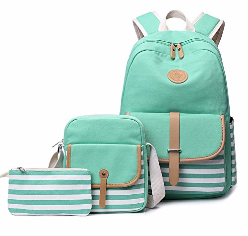 FLYMEI Lightweight Canvas Backpack Teens Backpack Boys and Girls School Bag Bookbags Set 3 in 1 Travel Daypack 14Inch Laptop Backpack,Green by FLYMEI (Image #7)