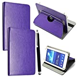 10inch Tablet Case Cover - Universal Leather Stand Case Folio Cover Magic Leather 360° Rotating Case Fits for ALL 10' Inch & 10.1' Inch Android Tablets tab + Stylus Pen (PURPLE CASE COVER)