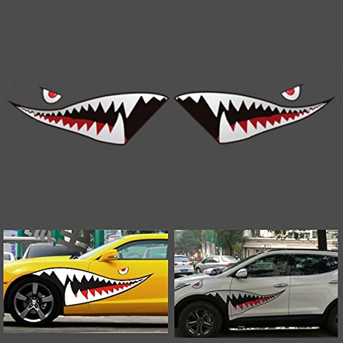 Yoton Exterior Accessories 150cmx50cm Shark Month Teeth Vinyl Sticker Car Body Exterior Scratch Cover Decal Waterproof