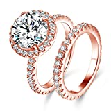 Jiangyue Women Halo Big Stone Rings AAA Cubic Zirconia Rose Gold Plated 2PCS Set Brilliant Elegant Ring Party Jewelry Size 8