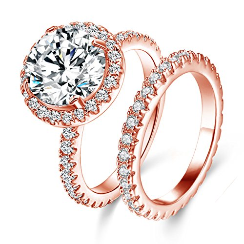 Jiangyue Women Halo Big Stone Rings AAA Cubic Zirconia Rose Gold Plated 2PCS Set Brilliant Elegant Ring Party Jewelry Size 8 by Jiangyue