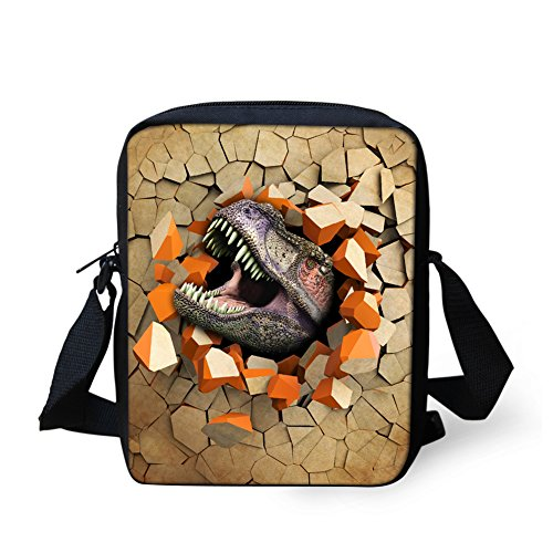 Print Animal Dinosaur 3D for Coloranimal pattern Boys 6 Cool Head Bags dinosuar Messenger BxCqw4X