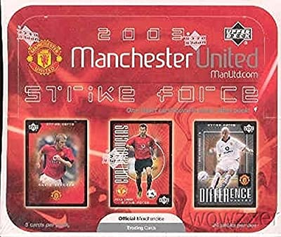 2003 Upper Deck Manchester United Strike Force HUGE Factory Sealed Box with 24 Packs and 120 Cards $50 !  Features Cards of Worldwide Soccer Legend  David Beckham and Many other Manchester Stars !