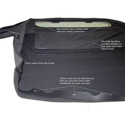 Compatible With Nissan 350Z 2003-2009 Convertible Soft Top & Heated Glass window Black Twill: Automotive