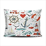 AIHUAW Home Decorative Cushion Covers Throw Pillow Case Sea with Nautical Elements Lighthouse Seagulls Sail Boat Life Buoy Anchor Pillowcases Lumbar 12x20 Inches One Sided Printed (Set of 1)
