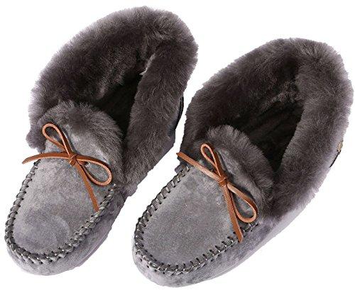 U-lite Donna Calda In Lana Di Lana Pantofola Casual Inverno Slouch Flat Mocassino Interno Ed Esterno, Pantofole In Lana Per Donna Grigio