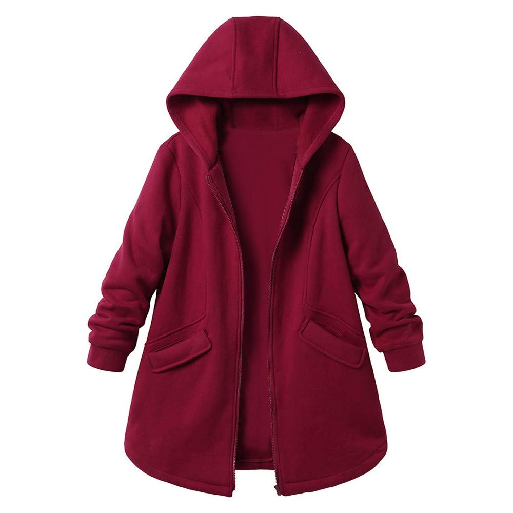 Cuekondy Womens Hooded Warm Winter Coats Plus Size Solid Color Long Sleeve Outwear Jacket With Pockets