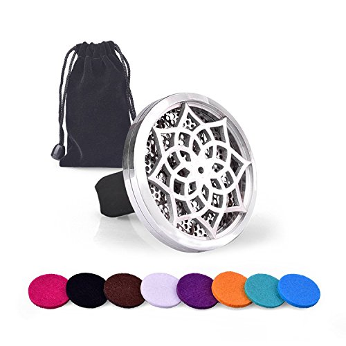 Car Aromatherapy Essential Oil Diffuser, iAbler Hypo-Allergenic Stainless Steel Auto Perfume Diffuser Locket Pendant With Carry Pouch & 8 Washable Pads (Flower) Image