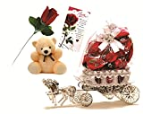 Skylofts Horse Chocolate With Teddy Soft Toys And Love Card, Rose