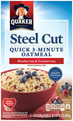 Quaker Steel Cut Oats, Quick 3-minute Oatmeal, Cranberries and Blueberries, Breakfast Cereal, 8 Packets Per Box (Pack of 6 Boxes) -