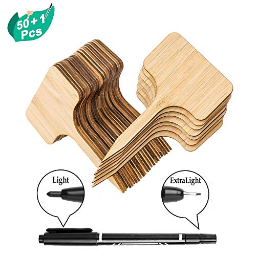 (OupsTech 50pcs Bamboo Plant Labels (T-Type) with a Marker Pen, Garden Markers, Plant Tags, Wooden Plant Sign, Gardening Accessories, Garden Markers for Seed Potted Herbs Flowers Vegetables (6 x 10 cm))