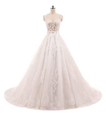Girls Dress Vestido de noiva Ball Gown Vintage Wedding Dresses Lace Appliques Crystal Sashes Robe de