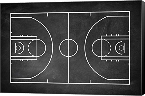 Basketball Court Chalkboard Background by Sports Mania Canvas Art Wall Picture, Museum Wrapped with Black Sides, 20 x 14 inches