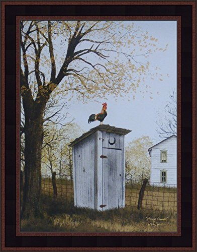 (Morning Commute by Billy Jacobs 15x19 Outhouse Bathroom Rooster Country House Primitive Folk Art Print Framed Picture)