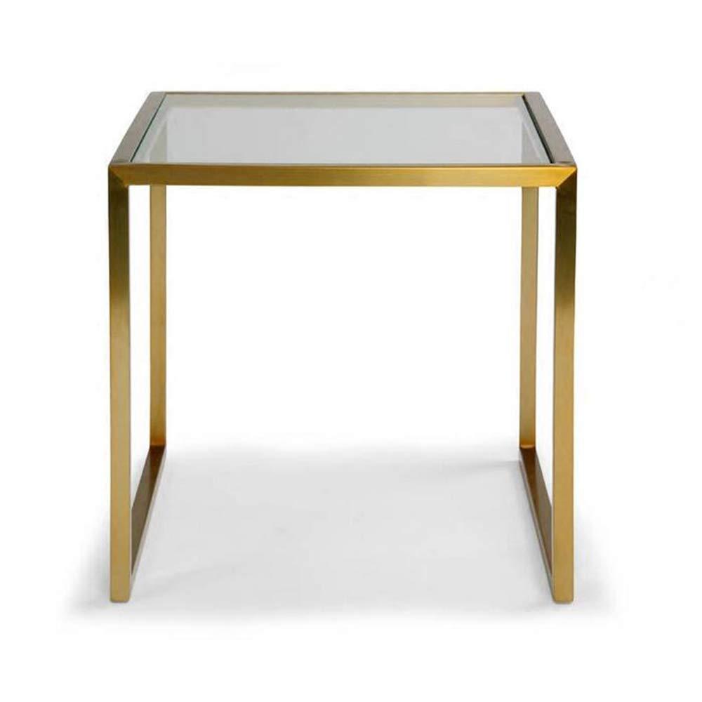 Duo Tavolino da Cocktail Tavolino da Salotto Tavolino da scrivania Tavolino da Salotto in Vetro temperato con Cornice in oro 45  50  45 cm