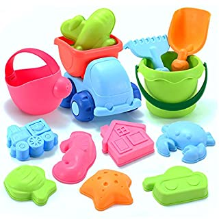 Dreamon 13PCS Set Beach Toys for Toddlers Soft Material Truck Molds with Mesh Bag Sand and Water Play,Assorted Colour