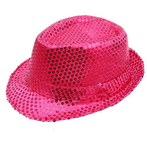 Wensltd Vibrant Sequined Hat Jazz Hat Dance Stage Show Performances Cap (Pink)