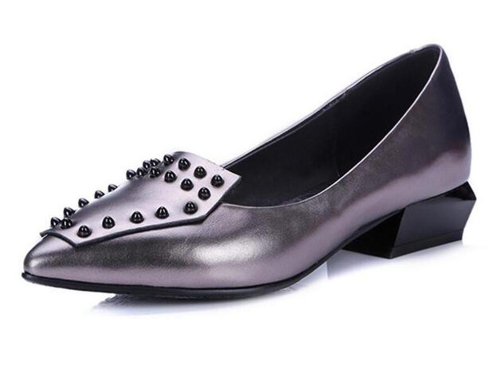 Zapatos de mujer Cuero genuino Rivet Punta puntiaguda Mocasines Bailarina plana Tamaño 35 a 41 , Silver , EU36 EU36|Silver