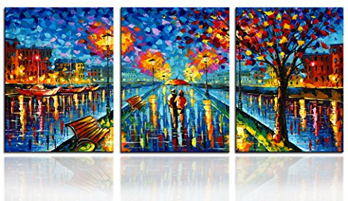 Sun Oil Painting - SUNRISE ART Blue Street Oil Painting Picture Printed on Canvas Modern Wall Art for Home Decoration 12x16x3