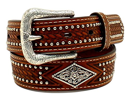 Ariat Kid's 1/4'' Diamond Concho Nail Head Belt, Tan, 22 (Diamond Shaped Conchos)
