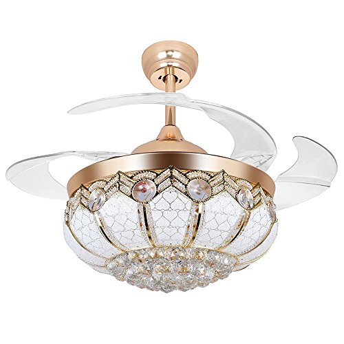 Tipton Light Ceiling Fans 42 Inch 4 Retractable Blades LED Ceiling Fan Crystal Chandelier with Remote Control has Three Change Colors White Light,Warm Light,White Warm Light-Gold (42 inch, golden) by Tipton Light (Image #1)