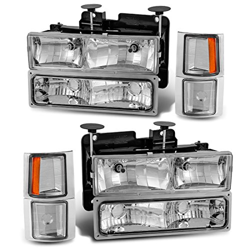 (Headlight Assembly Kit for Chevy C/K Series 1500 2500 3500 / Chevy Tahoe/Chevy Suburban/Chevy Silverado Crystal Headlamp w/Corner & Bumper Chrome Housing with Clear Lens)