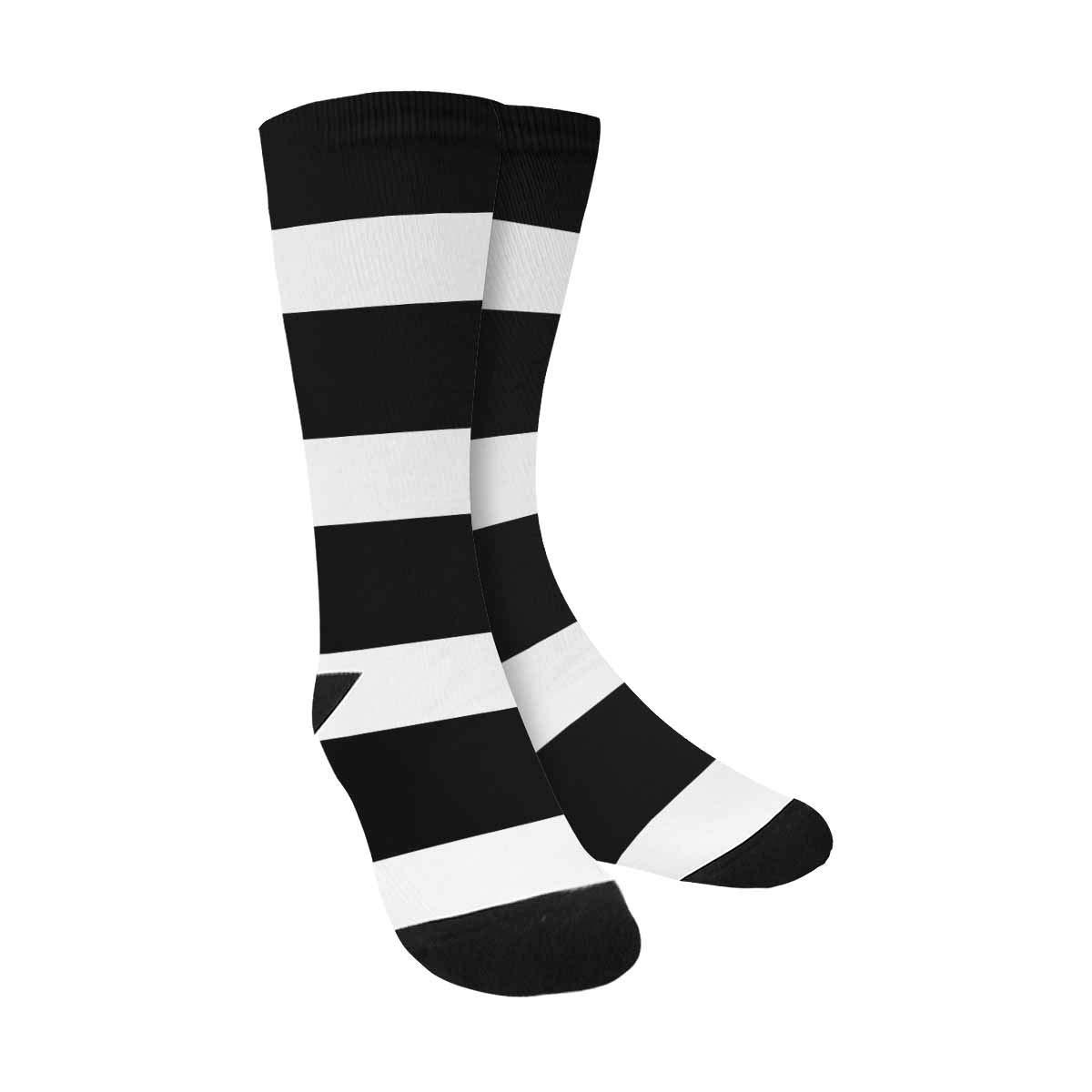 4d8a9322fa37 InterestPrint Classic Lines Stripes Black White Casual Crew Socks ...