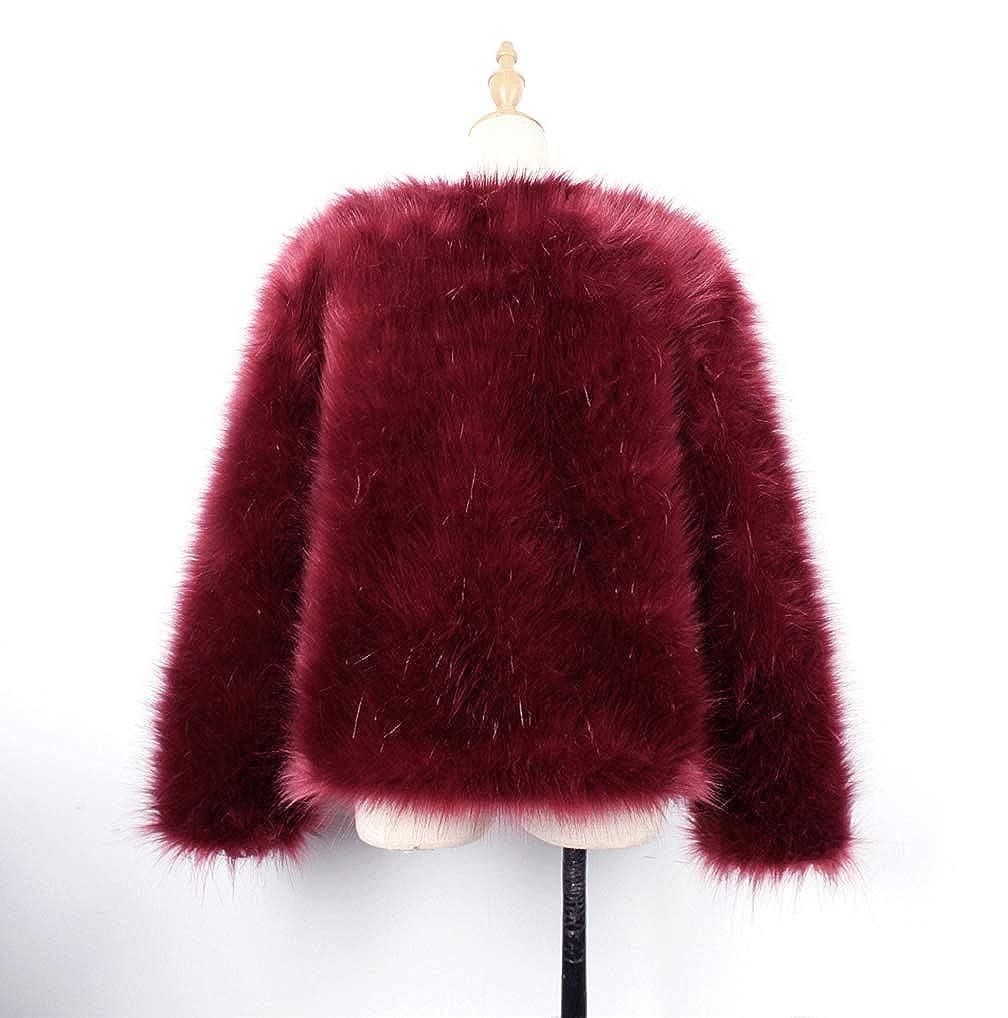 FNKDOR Fourrure Manteau pour Femme Chic Fausse Fourrure Plume d'autruche Manteau de Fourrure Douce Veste Fluffy Hiver Blousons Xmax Vin Rouge