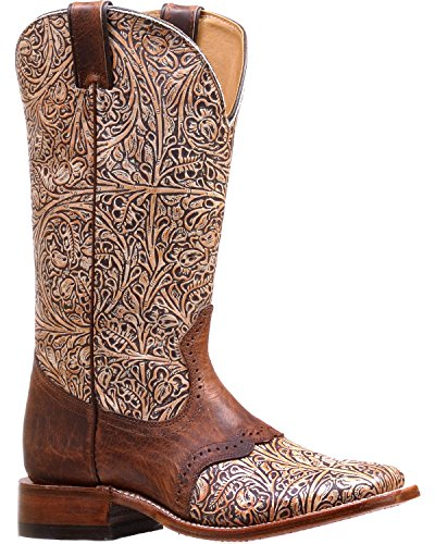 Boulet Women's Western Tooled Saddle Vamp Cowgirl Boot Square Toe Natural 7.5 M