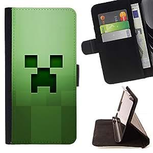 Momo Phone Case / Flip Funda de Cuero Case Cover - Cara espeluznante verde;;;;;;;; - MOTOROLA MOTO X PLAY XT1562