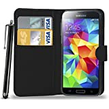 N+ INDIA SAMSUNG GALAXY S5 BLACK LEATHER WALLET FLIP CASE COVER POUCH FOR SAMSUNG GALAXY S5 With Touch Stylus Pen