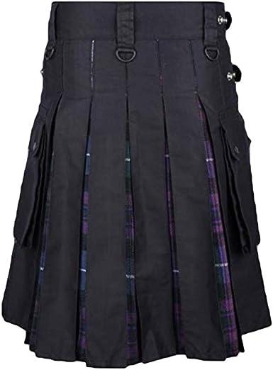JiXuan Nuevos Hombres Scottish Kilt Patchwork Plaid Falda Casual ...