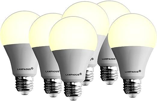 Lampaous - Pack de 6 bombillas led de 12 W con casquillo edison B27 A60 GLS de