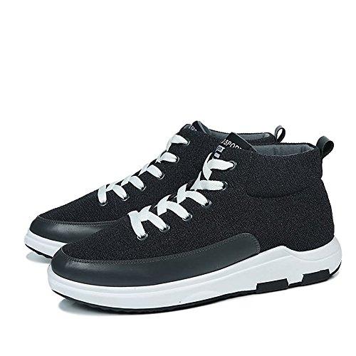 atléticas de Zapatillas Casual Gris Hombre Tendencia Deporte Aumentar Estilo Deportivos Zapatos de Nuevo los Lienzo para Alto para pqq1REwd