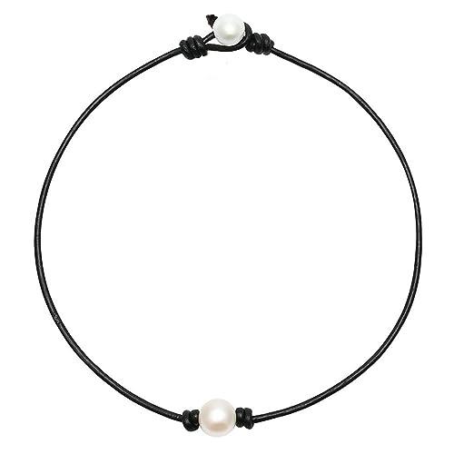 Amazon.com: wusuaned Blanco Perla Agua Dulce Knotted Collar ...