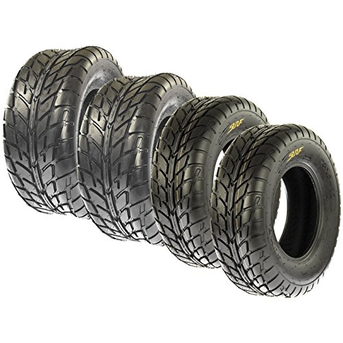 SunF A021 TT Road Go ATV UTV Flat Track & Asphalt Tires 19x6-10 Front & 225/45-10 Rear, 6 PR, Set of 4 (Go Kart Dirt Tires)
