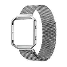For Fitbit Blaze Band Strp+Frame, Wearlizer Milanese Loop Watch Band Replacement Stainless Steel Bracelet Strap With Metal Frame for Fitbit Blaze - Silver Large