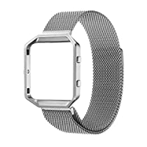 For Fitbit Blaze Band With Metal Frame, Wearlizer Milanese Loop Smart Watch Band Replacement Stainless Steel Bracelet Strap for Fitbit Blaze - Silver Small