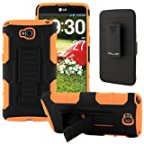 G Pro Lite Case, CellJoy [Future Armor] LG Optimus G Pro Lite D686/D680/D682 (WILL NOT FIT REGULAR LG G PRO) Case Hybrid Ultra Fit Dual Protection [Heavy Duty] Kickstand Holster **Shock-proof** [Belt Clip Holster Combo] - Rugged Case for LG G Pro Lite (Neon Orange)