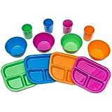 Kids Plates, Bowls, Cups, Dinnerware Set, 12 pieces, Assorted Colors …