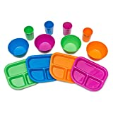 Kids Plates, Bowls, Cups, Dinnerware Set, 12 pieces, Assorted Colors …