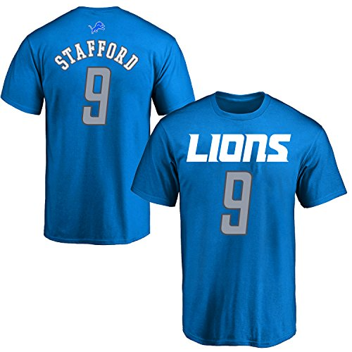 OuterStuff NFL Youth 8-20 Performance Mainliner Team Color Player Name and Number T-Shirt (Small 8, Matthew Stafford)
