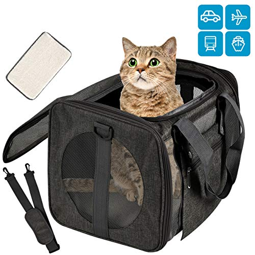 Moyeno Cat Carriers Dog Carrier Pet Carrier for Small Medium Cats Dogs Puppies up to 15 Lbs, TSA Airline Approved Small Dog Carrier Soft Sided, Collapsible Waterproof Travel Puppy Carrier – Black