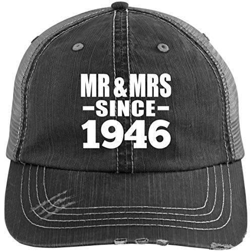 Mr & Mrs Since 1946 - Distressed Trucker Cap Black/Grey / One Size